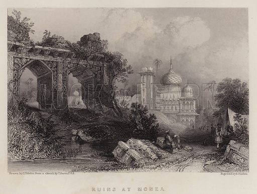 Ruins at Monea. Illustration for A Gazetteer of the World or Dictionary of Geographical Knowledge (A Fullarton, 1858).