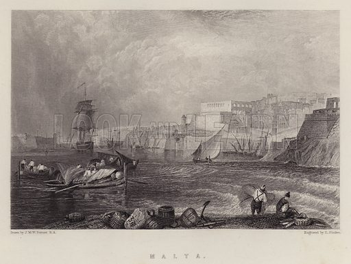 Malta. Illustration for A Gazetteer of the World or Dictionary of Geographical Knowledge (A Fullarton, 1858).