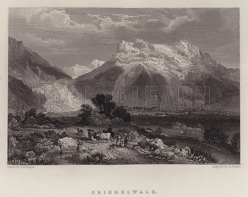 Grindelwald. Illustration for A Gazetteer of the World or Dictionary of Geographical Knowledge (A Fullarton, 1858).