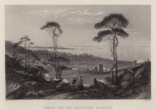 Dublin Bay and Kingstown Harbour. Illustration for A Gazetteer of the World or Dictionary of Geographical Knowledge (A Fullarton, 1858).