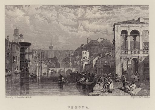 Verona. Illustration for A Gazetteer of the World or Dictionary of Geographical Knowledge (A Fullarton, 1858).
