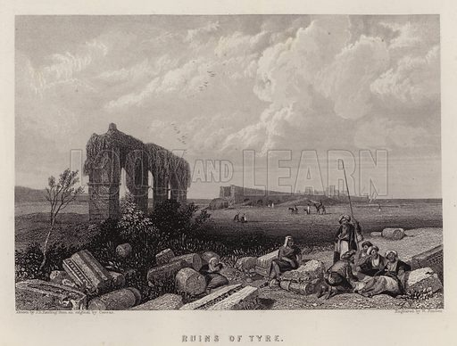 Ruins of Tyre. Illustration for A Gazetteer of the World or Dictionary of Geographical Knowledge (A Fullarton, 1858).
