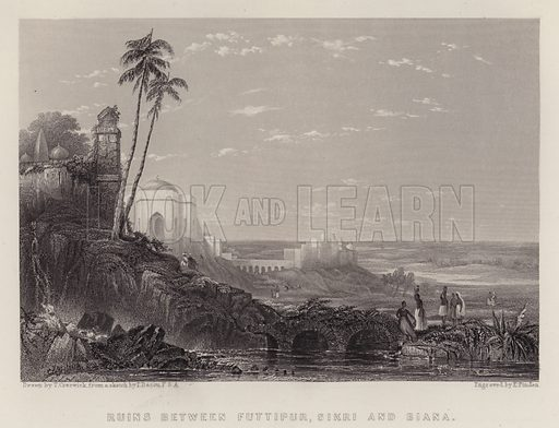 Ruins between Futtipur, Sikri and Biana. Illustration for A Gazetteer of the World or Dictionary of Geographical Knowledge (A Fullarton, 1858).