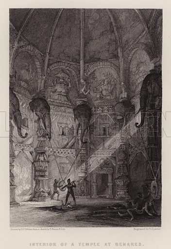 Interior of a Temple at Benares. Illustration for A Gazetteer of the World or Dictionary of Geographical Knowledge (A Fullarton, 1858).