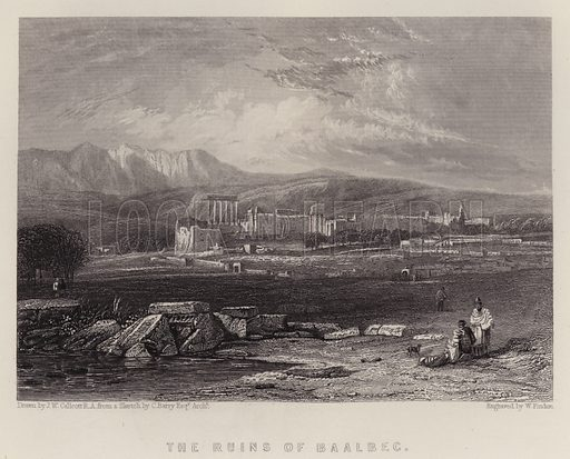 The Ruins of Baalbec. Illustration for A Gazetteer of the World or Dictionary of Geographical Knowledge (A Fullarton, 1858).