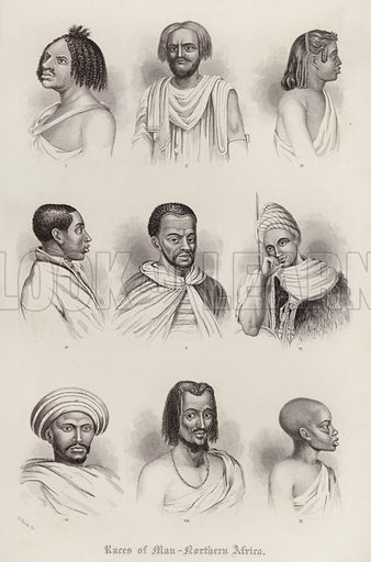 Races of Man, Northern Africa. Illustration for A Gazetteer of the World or Dictionary of Geographical Knowledge (A Fullarton, 1858).