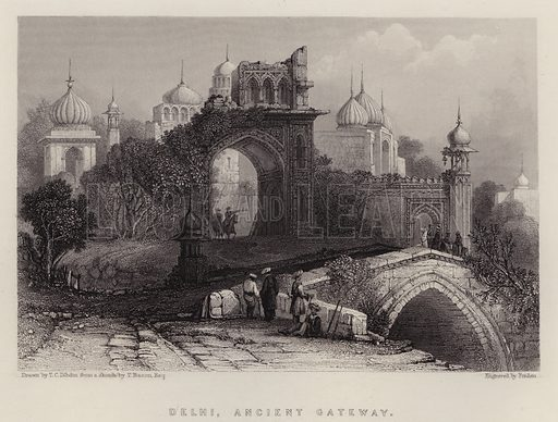 Delhi, Ancient Gateway. Illustration for A Gazetteer of the World or Dictionary of Geographical Knowledge (A Fullarton, 1858).