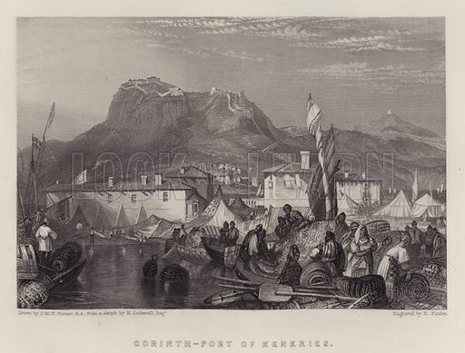 Corinth, Port of Kenkries. Illustration for A Gazetteer of the World or Dictionary of Geographical Knowledge (A Fullarton, 1858).