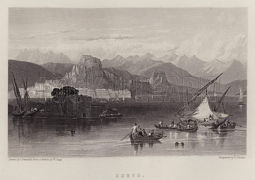 Corfu. Illustration for A Gazetteer of the World or Dictionary of Geographical Knowledge (A Fullarton, 1858).