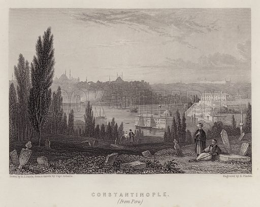 Constantinople, from Pera. Illustration for A Gazetteer of the World or Dictionary of Geographical Knowledge (A Fullarton, 1858).