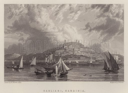 Cagliari, Sardinia. Illustration for A Gazetteer of the World or Dictionary of Geographical Knowledge (A Fullarton, 1858).