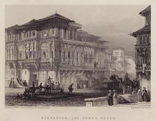 Burhanpur, the Suba's House. Illustration for A Gazetteer of the World or Dictionary of Geographical Knowledge (A Fullarton, 1858).