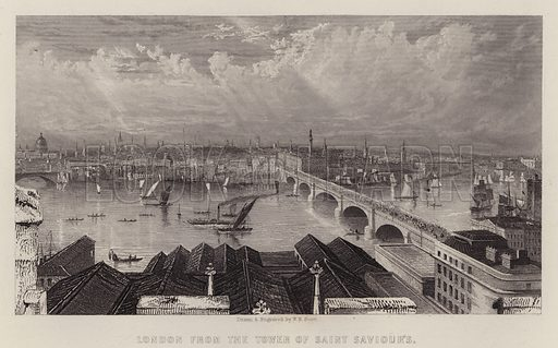 London from the Tower of Saint Saviour's. Illustration for A Gazetteer of the World or Dictionary of Geographical Knowledge (A Fullarton, 1858).