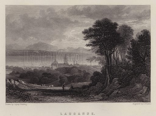 Lausanne. Illustration for A Gazetteer of the World or Dictionary of Geographical Knowledge (A Fullarton, 1858).