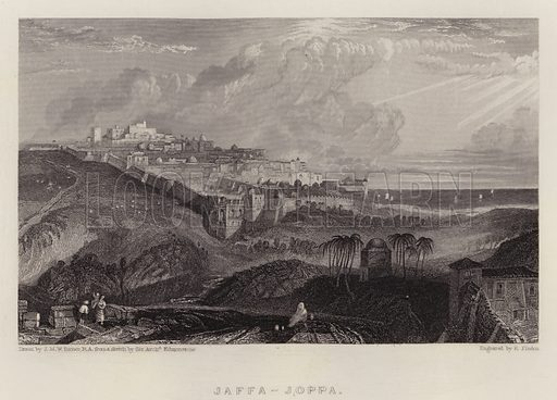 Jaffa, Joppa. Illustration for A Gazetteer of the World or Dictionary of Geographical Knowledge (A Fullarton, 1858).
