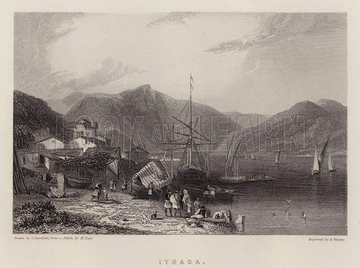 Ithaca. Illustration for A Gazetteer of the World or Dictionary of Geographical Knowledge (A Fullarton, 1858).