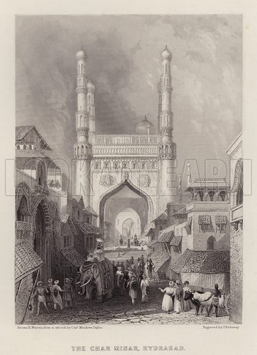 The Char Minar, Hydrabad. Illustration for A Gazetteer of the World or Dictionary of Geographical Knowledge (A Fullarton, 1858).