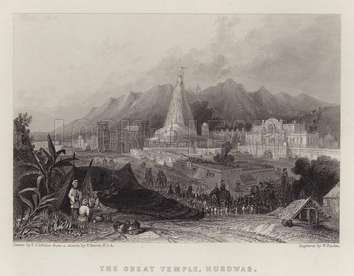 The Great Temple, Hurdwar. Illustration for A Gazetteer of the World or Dictionary of Geographical Knowledge (A Fullarton, 1858).