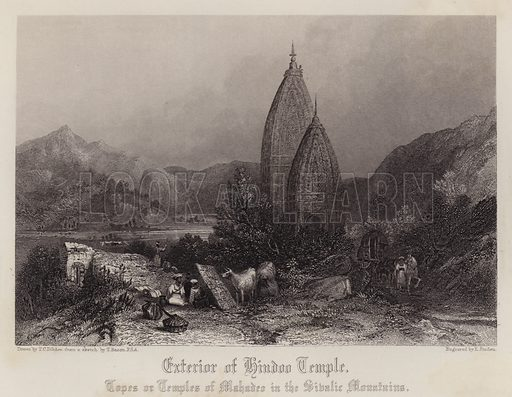 Exterior of Hindoo Temple, Topes or Temples of Mahadeo in the Sibalic Mountains. Illustration for A Gazetteer of the World or Dictionary of Geographical Knowledge (A Fullarton, 1858).