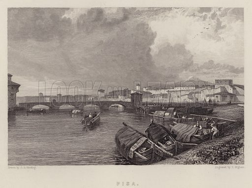 Pisa. Illustration for A Gazetteer of the World or Dictionary of Geographical Knowledge (A Fullarton, 1858).