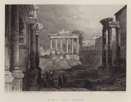 Rome, the Forum. Illustration for A Gazetteer of the World or Dictionary of Geographical Knowledge (A Fullarton, 1858).
