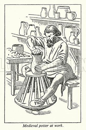 Medieval potter at work. Illustration for General Knowledge Course (Odhams, c 1945).