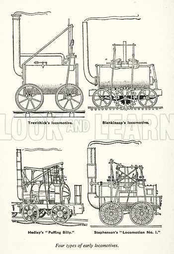 Four types of early locomotives. Illustration for General Knowledge Course (Odhams, c 1945).