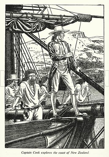 Captain Cook explores the coast of New Zealand. Illustration for General Knowledge Course (Odhams, c 1945).