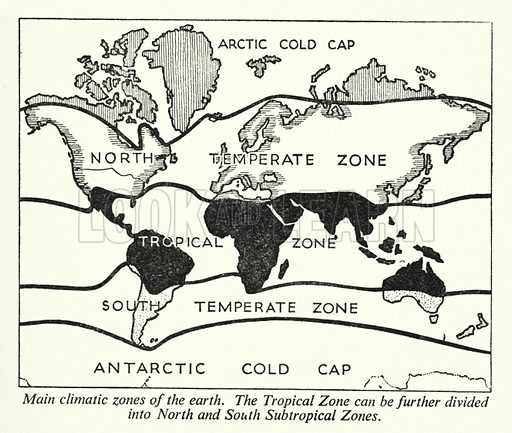 Main climatic zones of the earth. Illustration for General Knowledge Course (Odhams, c 1945).