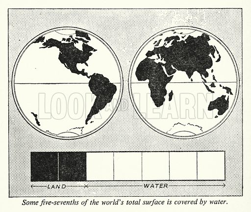 Some five-sevenths of the world's total surface is covered by water. Illustration for General Knowledge Course (Odhams, c 1945).