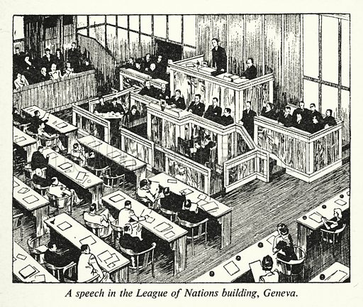 A speech in the League of Nations building, Geneva. Illustration for General Knowledge Course (Odhams, c 1945).