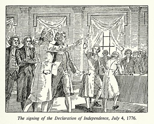 The signing of the Declaration of Independence, 4 July 1776. Illustration for General Knowledge Course (Odhams, c 1945).