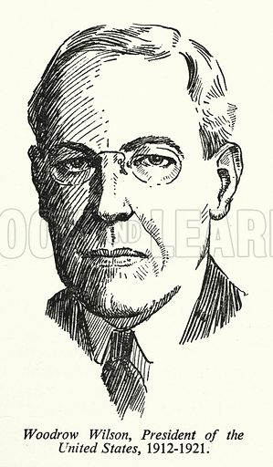Woodrow Wilson, President of the United States, 1912-1921. Illustration for General Knowledge Course (Odhams, c 1945).
