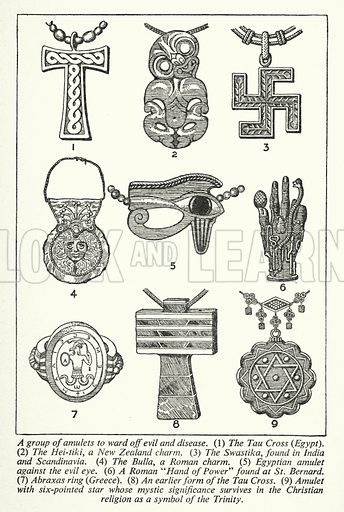 A group of amulets to ward off evil and disease. Illustration for General Knowledge Course (Odhams, c 1945).