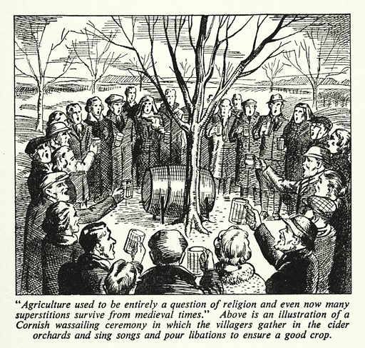 Agriculture used to be entirely a question of religion and even now many superstitions survive from medieval times. Illustration for General Knowledge Course (Odhams, c 1945).