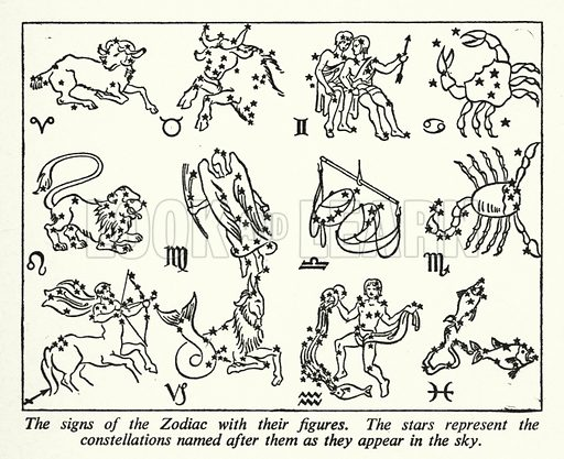 The signs of the Zodiac with their figures. Illustration for General Knowledge Course (Odhams, c 1945).