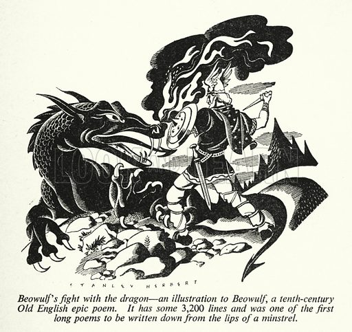 Beowulf's fight with the dragon, an illustration to Beowulf, a tenth-century Old English epic poem. Illustration for General Knowledge Course (Odhams, c 1945).