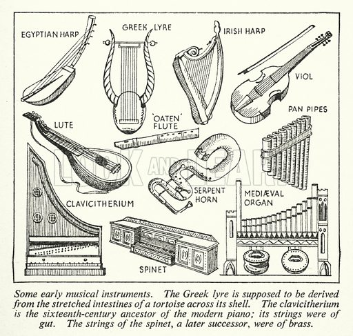 Some early musical instruments. Illustration for General Knowledge Course (Odhams, c 1945).