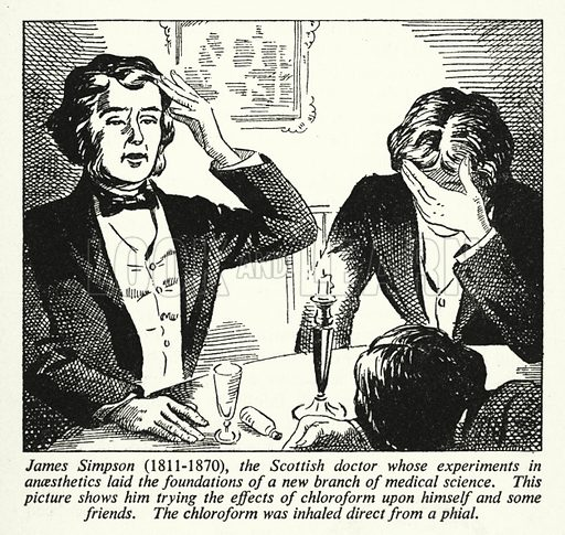 James Simpson, 1811-1870, the Scottish doctor whose experiments in anaesthetics laid the foundations of a new branch of medical science. Illustration for General Knowledge Course (Odhams, c 1945).