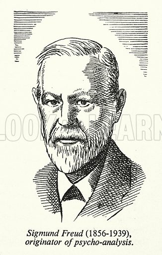 Sigmund Freud, 1856-1939, originator of psycho-analysis. Illustration for General Knowledge Course (Odhams, c 1945).