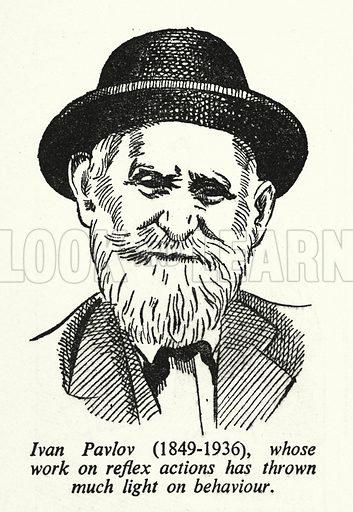 Ivan Pavlov, 1849-1936, whose work on reflex actions has thrown much light on behaviour. Illustration for General Knowledge Course (Odhams, c 1945).
