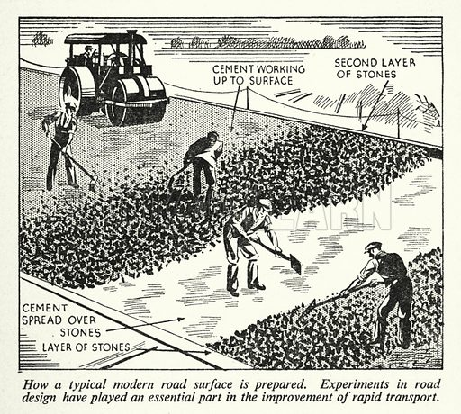 How a typical modern road surface is prepared. Illustration for General Knowledge Course (Odhams, c 1945).