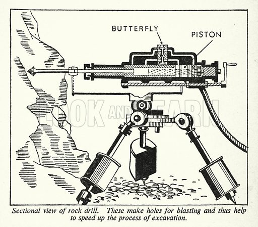 Sectional view of rock drill. Illustration for General Knowledge Course (Odhams, c 1945).