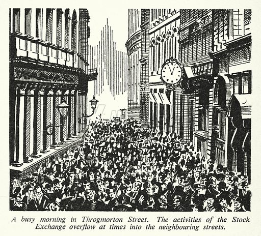 A busy morning in Throgmorton Street. Illustration for General Knowledge Course (Odhams, c 1945).