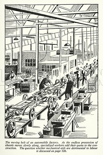 The moving belt of an automobile factory. Illustration for General Knowledge Course (Odhams, c 1945).