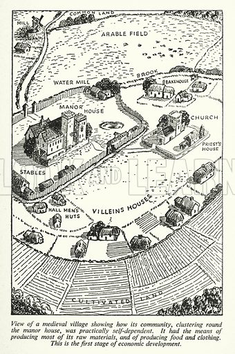 View of a medieval village showing how its community, clustering round the manor house, was practically self-dependent. Illustration for General Knowledge Course (Odhams, c 1945).