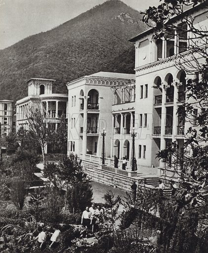 A Sanatorium at Gagra, Georgia. Illustration for Glimpses of the USSR its Economy and Geography by Nikolai Mikhailov (Foreign Languages Publishing House, Moscow, 1960).