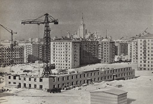 Houses under construction in south-West Moscow. Illustration for Glimpses of the USSR its Economy and Geography by Nikolai Mikhailov (Foreign Languages Publishing House, Moscow, 1960).