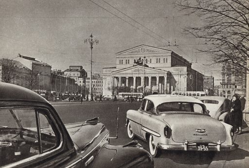 The Bolshoi Theatre, Sverdlov Square, Moscow. Illustration for Glimpses of the USSR its Economy and Geography by Nikolai Mikhailov (Foreign Languages Publishing House, Moscow, 1960).
