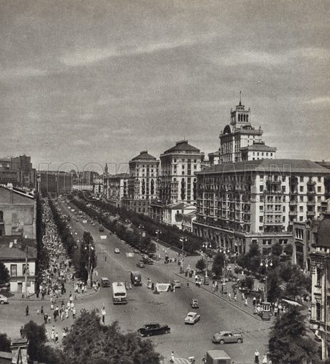 Kreshchatik, the main street of Kiev, capital of the Ukraine. Illustration for Glimpses of the USSR its Economy and Geography by Nikolai Mikhailov (Foreign Languages Publishing House, Moscow, 1960).